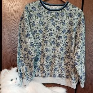 Jaclyn Smith Sport blue/gray paisley top